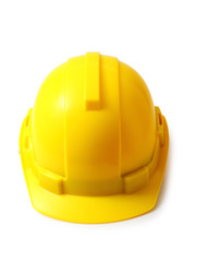 Yellow safety helmet on white clipping path, hard hat isolated.