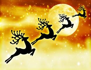 Reindeer silhouette in night sky