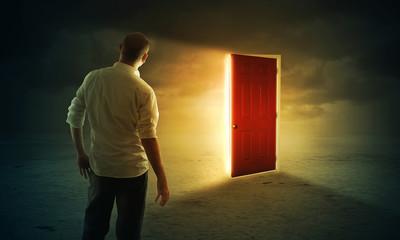 Bright glowing door