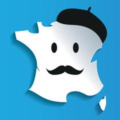 Carte France Smiley béret