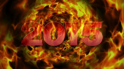 2015 Fires Text and Flame Explosion, with Alpha Matte