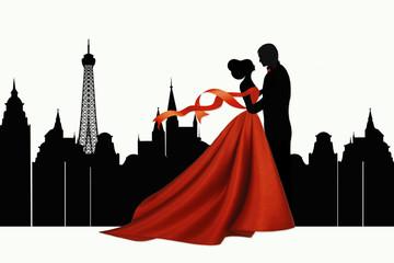 Влюбленная пара. Путешествие в Париж.
