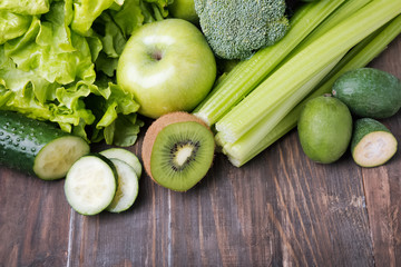 Fruits and vegetables of green color