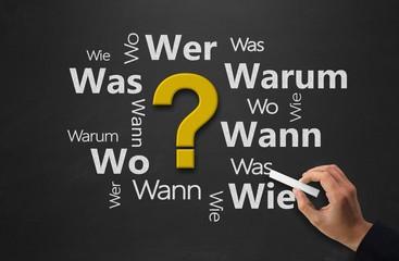 W-Fragen - FAQ´s - Kreidetafel