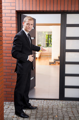 Handsome realtor during his work