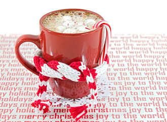 Christmas hot chocolate with candy cane