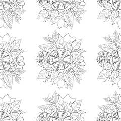Black and white floral pattern vector.