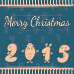 Festive Christmas postcard with numbers 2015