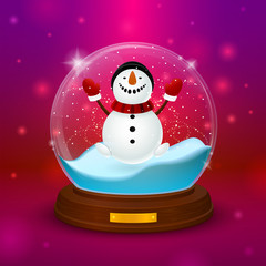 Snowman inside ball with stand