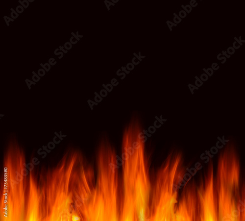 flames on a black background - 73483590