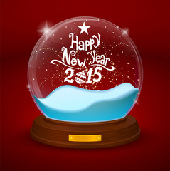 glass bowl statuette with new year