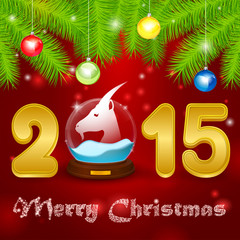 Christmas background globe with goat
