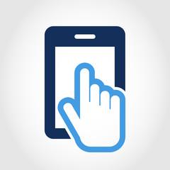 Vector logo design template. Touch screen smartphone icon. Hand