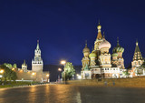 Fototapeta illuminated Basil's Cathedral and Spasskaya Tower at night