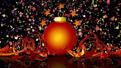 balls and ribbon Christmas