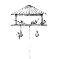 Illustration eines Vogelhauses