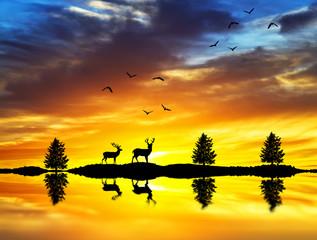 ciervos en la orilla del lago amaneciendo