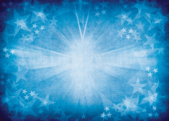Blue glowing star background.