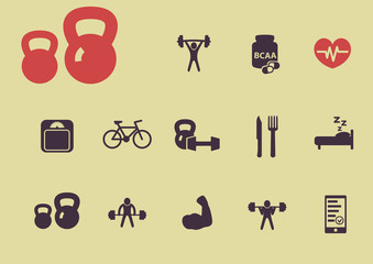 vintage flat fitness and health icons vector illustration, eps10