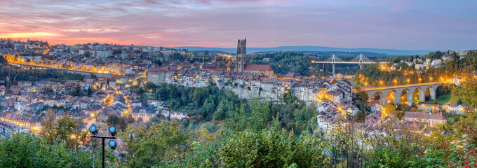View of cathedral, Poya and Zaehringen bridge, Fribourg,