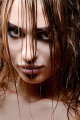 Close up portrait with wet hair