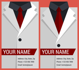Flat business card template with white jacket
