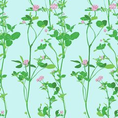 Vector seamless pattern with drawing clovers