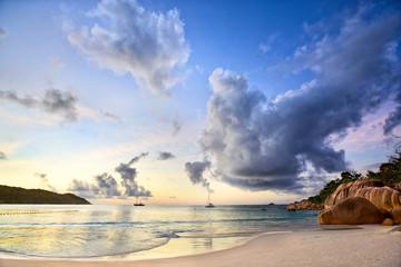 Sunset time at Anse Lazio beach, Praslin, Seyshelles