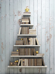 bookshelf shaped christmas tree, background