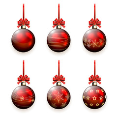 Set of Christmas balls with bow