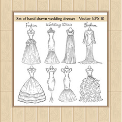 Vector set of hand drawn wedding dresses