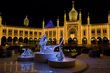 Oriental palace by night in Tivoli Gardens, Copenhagen