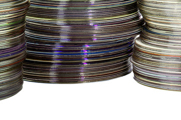 Closeup Three Piles of Colorful Compact Discs