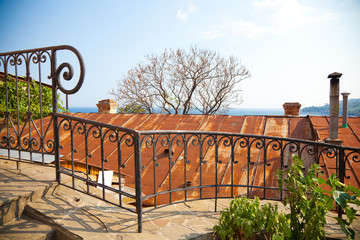 Crimean landscape, beautiful railings, roof of the house