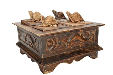 Vintage Wooden Box with Carved Turtles as Handles on Lids