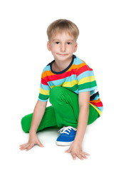 Little boy in a striped shirt