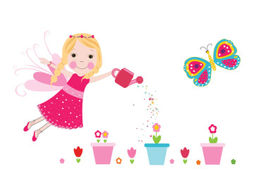 Fairy with colorful flowers vector background