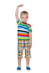 A cute little boy shows how he is tall