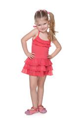 Pretty little girl in a red dress