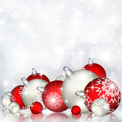 Best elegant Christmas background with red baubles