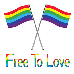 Gay Pride Flags Isolated on White-Free to Love