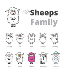 Sheeps_Family_vector