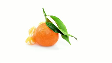 Clementine rotating on white background