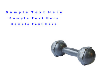 Small metal dumbbell on white background, conception.