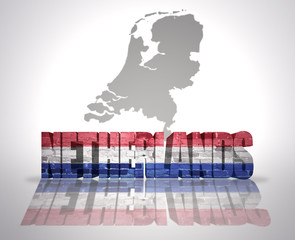 Word Netherlands on a map background
