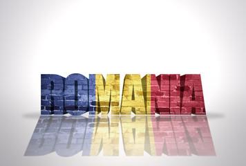 Word Romania on the white background