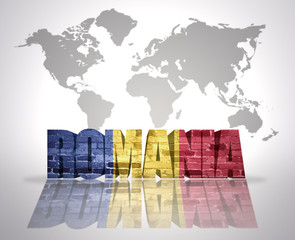 Word Romania on a world map background