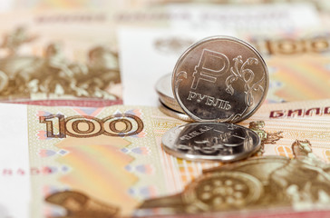 Russian currency, rouble: banknotes and coins close up