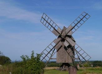 A Swedish historic wind mill on Oeland in Sweden