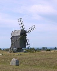 Ancient wooden mill on the Swedish island Oeland